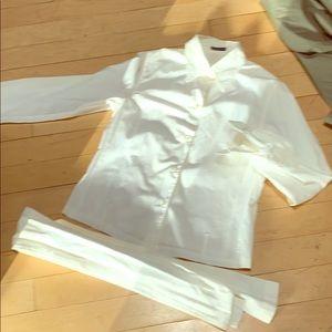 Ann Demuelemeester white shirt with self tie 36